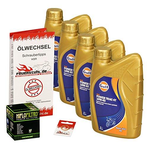 Ölwechselset Gulf Power Trak 10W-40 Öl + HiFlo Ölfilter für Yamaha BT 1100 Bulldog, Bj. 02-06 (Typ RP05); Motoröl + Filter + Dichtring