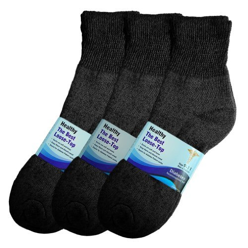 Basico Physicians Diabetic Circulatory Loos Top 12pairs Socks Ankle Black by Basico