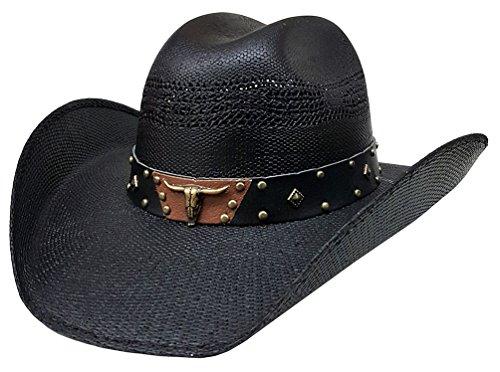 modestone-unisex-straw-cappello-cowboy-metal-bull-skull-studs-hatband-black