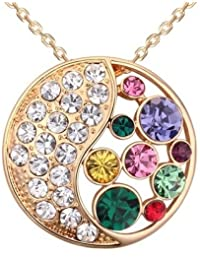 Saphira bisutería. colgante de oro con cadena. collar. Cristal austriaco Multicolor. Elementos Swarovski. Círculo lunar.
