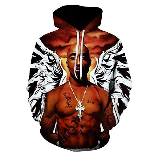 Herren Damen Hoodies Pullover Brief Drucken Hip Hop Sport Kapuze Fan Warme Pullis Sweat Top3D Digital Goldfisch und Katze LMWY379 L