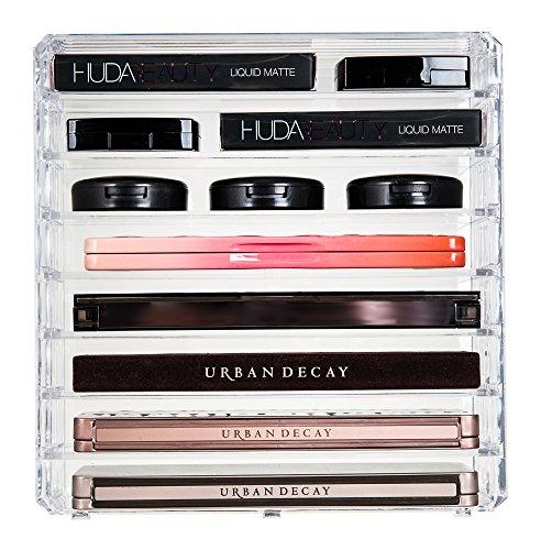 Palette de maquillage Glamsmacked acrylique transparent cosmétique organiseur – contient les accessoires dans 8 rangements avec intercalaires amovibles qui vous permettent de ranger tous les tailles standard différentes de palettes