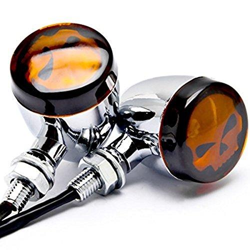 Preisvergleich Produktbild 2 x CHROM Skull Motorrad Teile Custom Bernstein Leuchtmittel Blinker Indikatoren Lampen Blinker Zubehör Fit für Harley Davidson Dyna Glide Wide Glide FXDWG FXWG