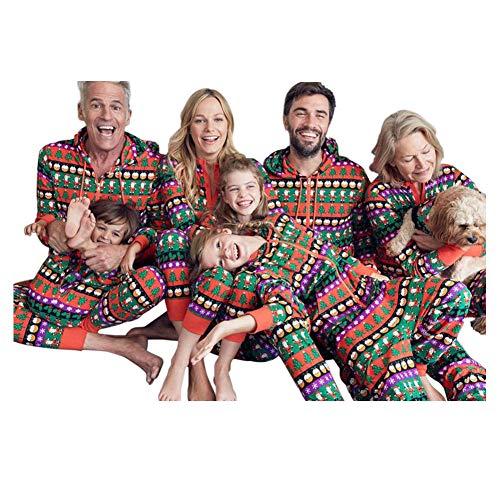 Poonkuos Vacaciones Impresión Navidad Familia Matching Pijama - Navidad PJs Mono Hoodie Onesie Ropa de Dormir para Familia