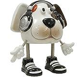 Spardose aus Kunstharz Hund mit Feder