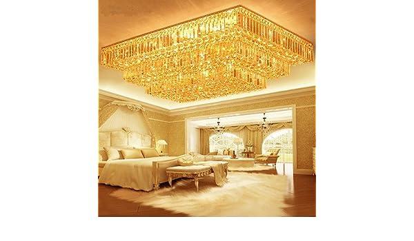 Plafoniera Rettangolare Cristallo : Saejjsd plafoniera rettangolare oro chiaro cristallo torte lampada