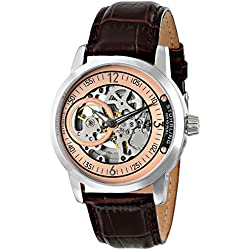 Stuhrling Original Classique Delphi Saros Automatic Watch with Black Dial Analogue Display and Black Leather Strap