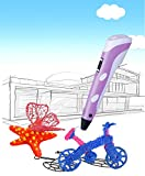 DOMO nScribe Build Star+ Plus 3D Doodling Printer Scribbler Pen with LCD for 1.75mm PLA and ABS - with Free Sample Filaments - Purple