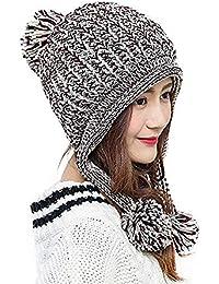 e031deff Bhwin Women Winter Soft Knitted Beanie Hat Ski Ear Flaps Caps for Girls  Warm Hats