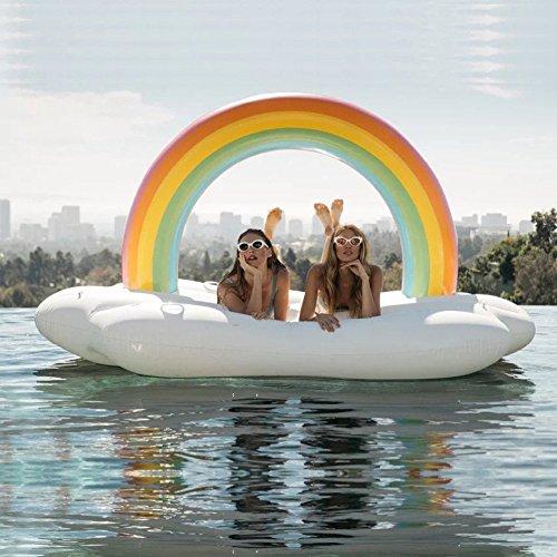 LUSTAR Pool Floss Riesen Floaties Aufblasbare Schwimmer Schwimmring Luftkissen Regenbogen Insel Pool Float Mount Schwimmende Bett