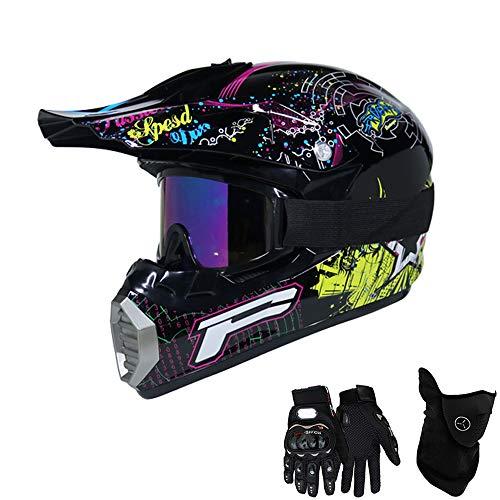 QYTK® Série MT-514 Motorradhelm, Full face Motocross Helm Sport Adventure Racing Motorrad-Helm Motocross Schutzhelm MTB Schutz Sicherheit Helm mit Handschuhe Maske Brille,M54~55CM