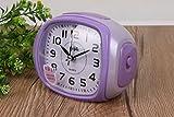 AGECC Stiller Wecker Kreative Schläfrigkeit Faule Glocke Glockentakt Mit Nachtlampe Doppelglocke Wechsel Violett