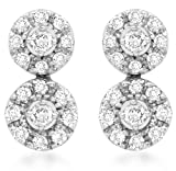 Carissima Gold 9ct White Gold 0.25ct Diamond Double Cluster Stud Earrings