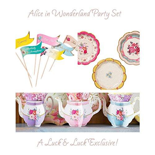 Alicia en el País de las maravillas, diseño floral vintage set de fiesta, mini teteras, platos y Canapés Alimentos Banderas