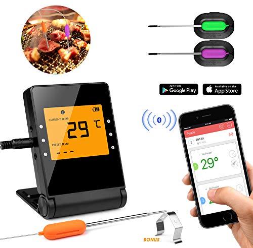Shinmax Grillthermometer Thermometer Küche Digitales Grill Thermometer Bratenthermometer Fleischthermometer Temperatur Voreinstellung, Küchenwecker, Sofortiges Auslesen Küche,intelligentes Bluetooth
