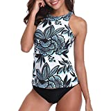 YWLINK Damen Badeanzug RüCkenfrei RüCkseite Elegant Neckholder Monokini Einteiler Swimsuit Beachwear Bikini Sets Zwei StüCk Blumendruck (S,Grün)
