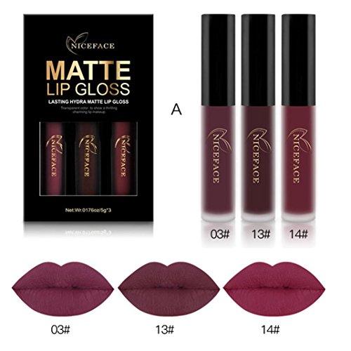 3 STÜCKE Neue Mode Wasserdicht Matt Flüssigen Lippenstift Kosmetische Sexy Lipgloss Kit...