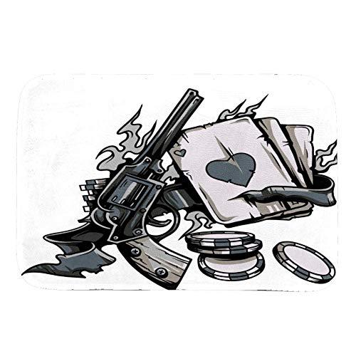 Lurnies Spielkarten und Waffen Teppiche weichen modernen rutschfesten Teppich Pad gemütlich waschbar Teppich bietet Schutz und Kissen für Teppiche und Boden 91.5x61 cm (Spielkarten Waffen)