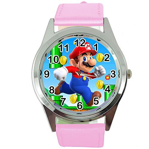 TAPORT® Reloj de Cuarzo Correa de Cuero Rosa para Mario Fans E2