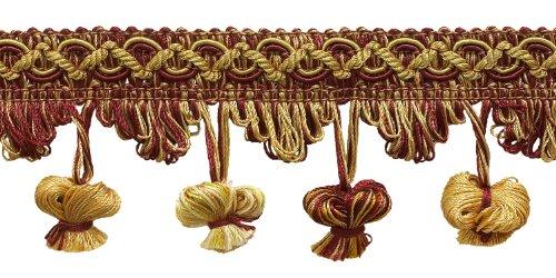 5Yard Value Pack burgund rot, gold 5,1cm Imperial II Zwiebel Quaste Fransen Stil # nt2503Farbe: burgund gold-1253(15ft) -