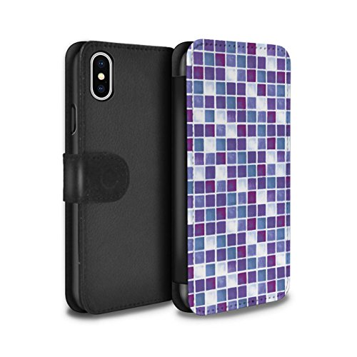 Stuff4 Coque/Etui/Housse Cuir PU Case/Cover pour Apple iPhone X/10 / Rouge/Bleu Design / Carreau Bain Collection Violet/Blanc