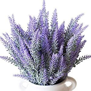 PANTINUE 9pcs Artificial Lavanda Ramo en Flores púrpuras DIY Piso jardín Oficina Novia casa Boda decoración (Púrpura, 9 Piezas)