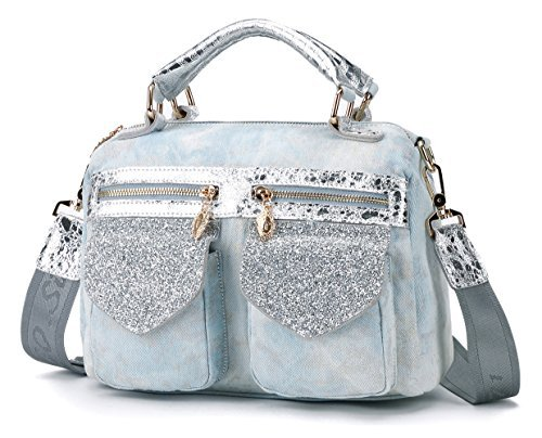 Denim Handbags for Women Designer Crossbody Messenger Jeans Cowboy Shoulder  Bag Casual Satchel Purse Light Blue. by leashell e06687f8ea