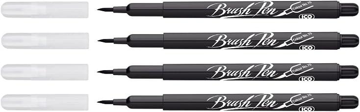 ICO Brushpen - Black - Color No. 70 - Pack of 4