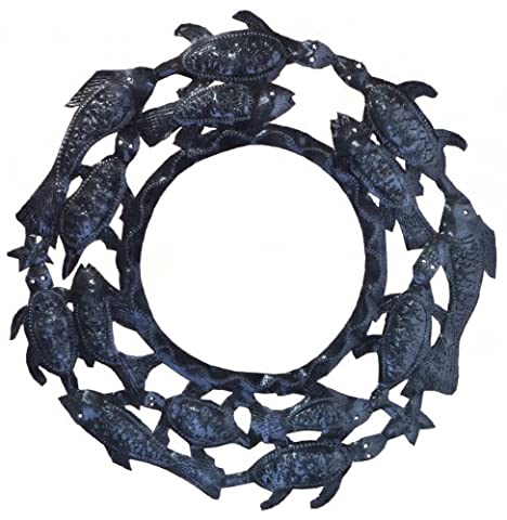 Le Primitif Galleries Haitian Recycled Steel Oil Drum Outdoor Decor, 13 by 13-Inch, Turtle and Fish Mirror