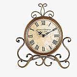 CLLCR Orologio Vintage, Orologio Soggiorno in Campagna, Decorazione Camera da Letto, Orologio da Tavolo in Ferro Battuto, Orologio Orologio Muto, Orologio Camino, Orologio A Pendolo,A,24X28CM