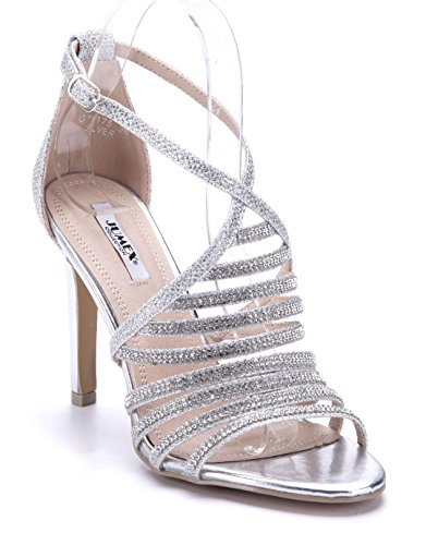 a5781b4fcfa8ca Schuhtempel24 Damen Schuhe Sandaletten Sandalen Silber Stiletto Ziersteine Glitzer  11 cm High Heels