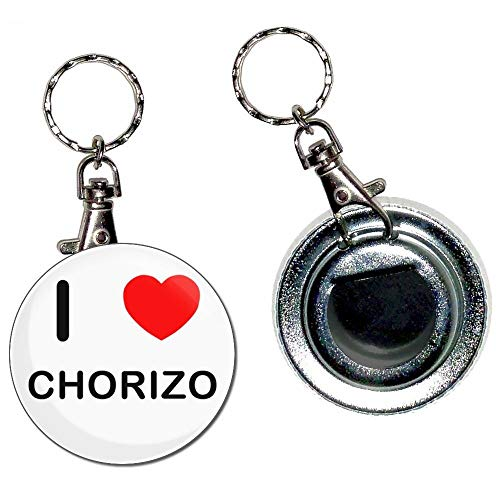BadgeBeast.co.uk I Love Chorizo - Llavero con abridor de botellas de 55 mm con llavero