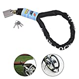 AWinEur 8mm x 1.2m Heavy Duty Motorbike Motorcycle Bike Bicycle Cycle Chain Lock PadLock (8mm Steel Dia x 1.2m Length)