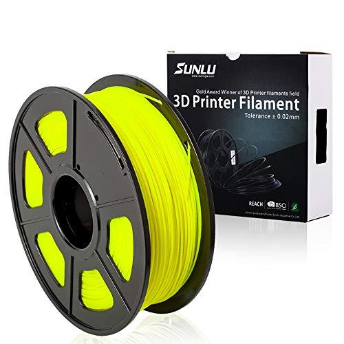 3D Printer Filament PLA+,PLA+ Filament 1.75 mm SUNLU,Low Odor Dimensional Accuracy +/- 0.02 mm 3D Printing Filament,2.2 LBS (1KG) Spool 3D Printer Filament,Yellow PLA+