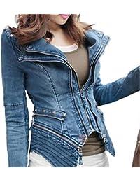 Lonlier Top Manches Longues Denim Jeans Biker Chic Blazer Jacket Punk Sharp  Rock Blouson Veste en fb51e6ad8ff8