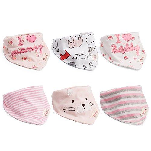 6pcs Baby Dreieckstuch Lätzchen Mädchen Spucktuch Baumwolle Halstücher mit süßen Motiven in unterschiedlichen Farben, Doppellagig Saugfähig