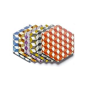 6 Tischset mehrfarbig Hexagon Melamin hitzebeständig 160 Celsius