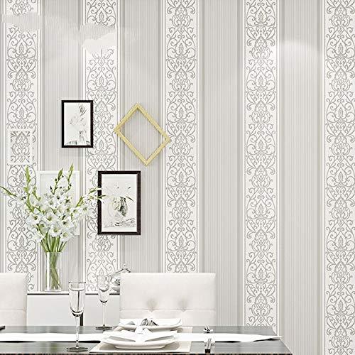 LFBIZHI Grau/Weiß/Beige/Pink Shimmer Damast Gestreifte Tapete Für Schlafzimmer Moderne Geprägte Textur Tapetenrolle Wohnkultur 5,3 Paper 800206 -