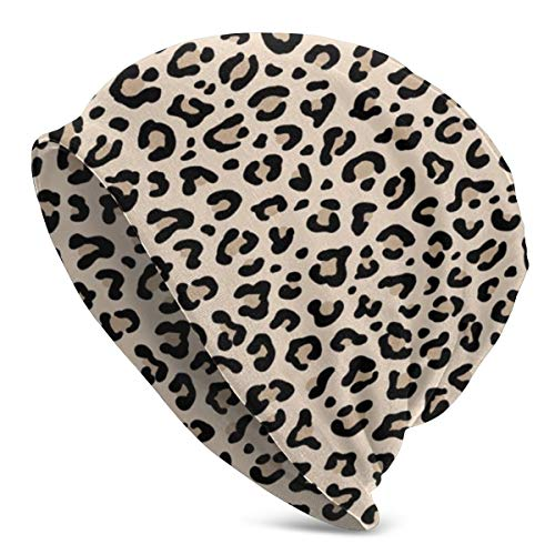 Gorro de Invierno con Estampado de Leopardo en Color Blanco y Negro, de Ecru Tiny Scale Collection, con diseño de Puntos de Leopardo, Punk, Rock, Animal, Tejido cálido, elástico, Suave, Duradero