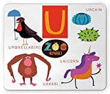 ABC Kinder Maus Pad, ABC Thema U Zeichen für Fantastische Liebenswürdig, Tiere Einhorn umbrellabird Urchin Uakari, Standard Größe Rechteck rutschfeste Gummi Mauspad, multicolor