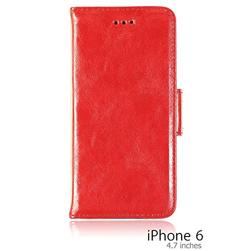 OnlineBestDigital - PU Leather Flip Stand Case / Housse pour Apple iPhone 6 (4.7 inch)Smartphone - Rouge avec 3 Film de Protection Rouge