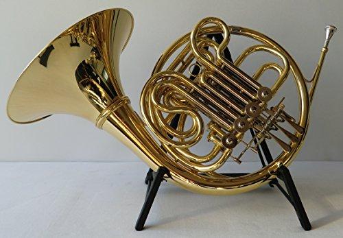 SYMPHONIE WESTERWALD Waldhorn/Doppelhorn in Bb/F, Gold/Silber + Hornständer, inkl. Luxus-Hartschalenkoffer und Zubehör, Neu