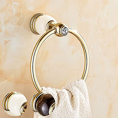 Towel ring, jade towel ring, golden natural marble, European towel,White Onyx