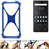 K-S-Trade Bumper für BlackBerry KEY2 (Dual-SIM) Silikon Schutz Hülle Handyhülle Silikoncase Softcase Cover Case Stoßschutz, blau (1x)
