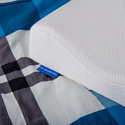 BetterSleepWell Nackenstützkissen mit 2x Bambus Naturfaser Kissenbezug  50×30 cm Höhe 10-7 cm – weiß - 6