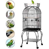 Yaheetech Gabbia Voliera per Uccelli pappagalli in Metallo (Nera 59 x 59 x 150 cm)