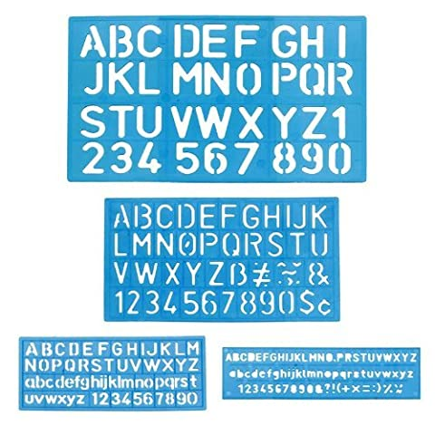 1x Lettre and Number Stencil Sets–Sizes 8, 10, 20, 30mm–Assorted Colors By BAZIC