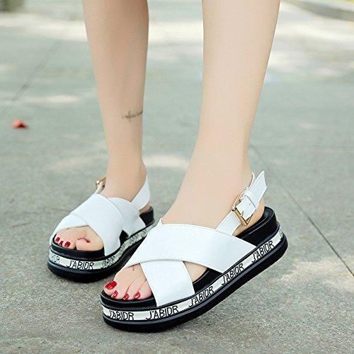 Lgk & fa estate sandali sandali di spessore inferiore da donna croce nastro stile college vento sandali White