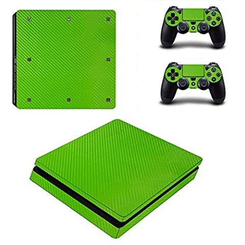 Morbuy PS4 Slim Skin Vinyl Autocollant Decal Sticker pour Playstation 4 Slim console + 2 Dualshock Manette Set (Green Carbon Fiber)