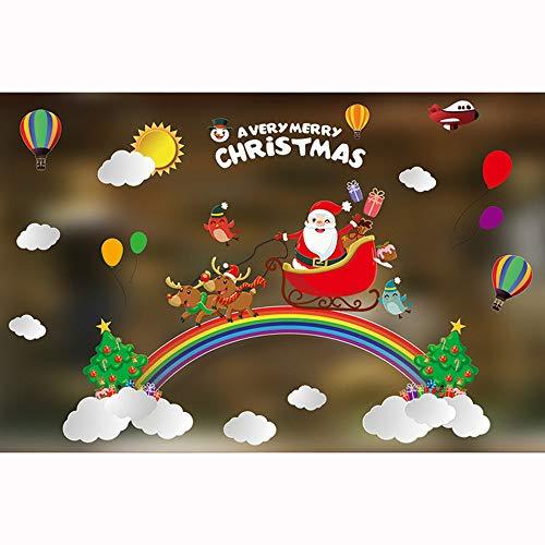 Amphia - Weihnachtsfenster, Glasaufkleber, Buntglasaufkleber, Wandaufkleber, Frohe Weihnachten Wand Kunst Removable Home Fenster Wand Aufkleber Aufkleber Party Decor